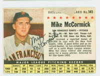 Mike McCormick AUTOGRAPH 1961 Post #141 Giants BOX CARD IS F/P; PAPER LOSS, AUTO CLEAN