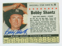 Bobby Shantz AUTOGRAPH 1961 Post #15 Yankees BOX CARD IS VG; AUTO CLEAN