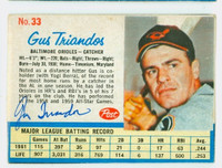 Gus Triandos AUTOGRAPH d.13 1962 Post #33 Orioles CARD IS VG; AUTO CLEAN