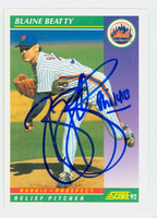 Blaine Beatty AUTOGRAPH 1992 Score Mets 