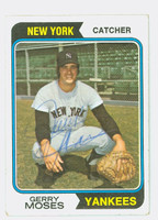 Gerry Moses AUTOGRAPH 1974 Topps #19 Yankees CARD IS VG
