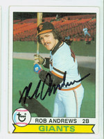 Rob Andrews AUTOGRAPH 1979 Topps Giants 