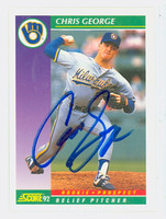 Chris George AUTOGRAPH 1992 Score Brewers 