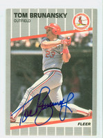 Tom Brunansky AUTOGRAPH 1989 Fleer Cardinals 