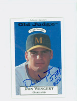 Don Wengert AUTOGRAPH 1996 Signature T-96 Old Judge Design Autograph Issue Athletics CERTIFIED 