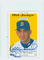 Kelly Wunsch AUTOGRAPH 1996 Signature T-96 Old Judge Design Autograph Issue Brewers CERTIFIED 