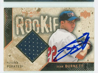 Sean Burnett AUTOGRAPH 2000 Upper Deck Black Diamond Jersey Gems - Embedded Jersey Pirates 