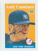 Andy Cannizaro AUTOGRAPH 2007 Topps Heritage 1958 Topps Design Yankees 