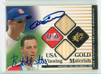 Adam Everett - Brent Abernathy DUAL SIGNED 2000 Upper Deck Winning Materials Gold - Embedded Jersey USA 