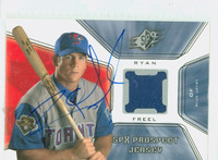 Ryan Freel AUTOGRAPH d.12 2001 Upper Deck SPX Prospect - Embedded Jersey Blue Jays 