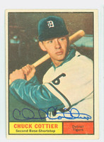Chuck Cottier AUTOGRAPH 1961 Topps #13 Tigers CARD IS VG/EX; AUTO CLEAN