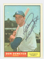 Don Demeter AUTOGRAPH 1961 Topps #23 Dodgers CARD IS VG/EX; AUTO CLEAN