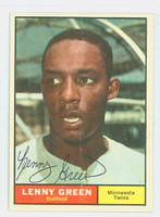 Lenny Green AUTOGRAPH 1961 Topps #4 Twins CARD IS G/VG; SL BEND