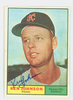 Ken Johnson AUTOGRAPH d.15 1961 Topps #24 Athletics CARD IS CLEAN EX