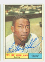 Willie Kirkland AUTOGRAPH 1961 Topps #15 Indians CARD IS VG/EX; AUTO CLEAN