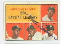 Bill Skowron AUTOGRAPH d.12 1961 Topps AL Batting Leaders #42 Yankees CARD IS VG; AUTO CLEAN, CRN DING