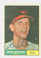 Wes Stock AUTOGRAPH 1961 Topps #26 Orioles CARD IS VG; AUTO CLEAN, CRN DING