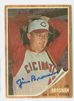 Jim Brosnan AUTOGRAPH d.14 1962 Topps #2 Reds CARD IS VG/EX; AUTO CLEAN