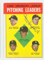 Ray Herbert AUTOGRAPH 1963 Topps AL Pitching Leaders #8 White Sox CARD IS VG/EX; AUTO CLEAN