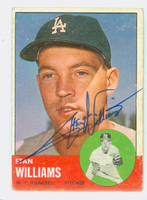 Stan Williams AUTOGRAPH 1963 Topps #42 Yankees CARD IS G/VG, CRN WEAR; AUTO CLEAN  [SKU:WillS752_T63BBC]