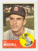 Dal Maxvill AUTOGRAPH 1963 Topps #49 Cardinals CARD IS G/VG, CREASES; AUTO CLEAN  [SKU:MaxvD1582_T63BBC]