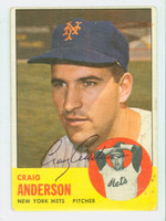 Craig Anderson AUTOGRAPH 1963 Topps #59 Mets CARD IS G/VG, LT SURF WEAR; AUTO CLEAN