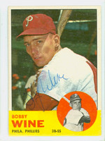 Bobby Wine AUTOGRAPH 1963 Topps #71 Phillies CARD IS CLEAN EX  [SKU:WineB1414_T63BBC]