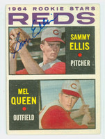 Sammy Ellis AUTOGRAPH d.16 1964 Topps #33 Reds ROOKIE CARD IS VG/EX; AUTO CLEAN