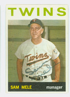 Sam Mele AUTOGRAPH 1964 Topps #54 Twins CARD IS VG/EX; AUTO CLEAN