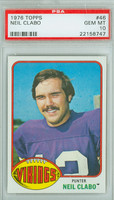 1976 Topps Football 46 Neil Clabo Minnesota Vikings PSA 10 Gem Mint