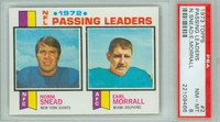1973 Topps Football 2 Passing Leaders PSA 8 Near Mint to Mint