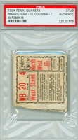 1924 Penn Quakers Ticket Stub vs Columbia Lions - October 18, 1924 PSA/DNA Authentic