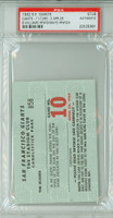 1962 San Francisco Giants Ticket Stub vs Chicago Cubs Willie Mays HR #324 Billy Williams HR #30  - April 28, 1962 PSA/DNA Authentic