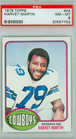 1976 Topps Football 44 Harvey Martin ROOKIE Dallas Cowboys PSA 8 Near Mint to Mint