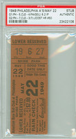 1949 Philadelphia Athletics Ticket Stub vs Cleveland Indians Satchel Paige Losing Pitcher Eddie Joost HR #50  - May 22, 1949 PSA/DNA Authentic