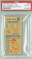 1973 New York Mets Ticket Stub vs Los Angeles Dodgers Willie Mays HR #655 Jon Matlack Win #18  - June 9, 1973 PSA/DNA Authentic