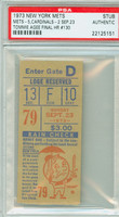 1973 New York Mets Ticket Stub vs St. Louis Cardinals Tommie Agee Final HR #130 - September 23, 1973 PSA/DNA Authentic
