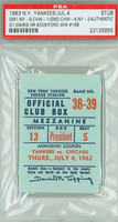 1963 New York Yankees Ticket Stub vs Chicago White Sox Roger Maris HR #209 Whitey Ford Win #188  - July 4, 1963 [Y63_Yank0704S_pa_5] PSA/DNA Authentic