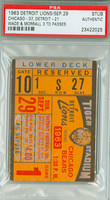 1963 Detroit Lions Ticket Stub vs Chicago Bears - Earl Morrall 3 TDs September 29, 1963 PSA/DNA Authentic