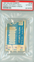 1967 Dallas Cowboys Ticket Stub vs Atlanta Falcons Don Meredith 2 TDs - November 5, 1967 PSA/DNA Authentic