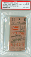 1955 Milwaukee Braves Ticket Stub vs St. Louis Cardinals Eddie Mathews HR #151 Lew Burdette Wn #48  - September 16, 1955 PSA/DNA Authentic