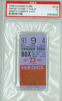 1958 Chicago Cubs Ticket Stub vs Pittsburgh Pirates Ernie Banks HR #177 Roberto Clemente 4 Hits  - August 23, 1958 [Y58_Cubs0823S_p5_4] Excellent