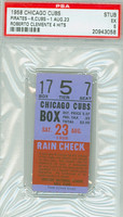 1958 Chicago Cubs Ticket Stub vs Pittsburgh Pirates Ernie Banks HR #177 Roberto Clemente 4 Hits  - August 23, 1958 [Y58_Cubs0823S_p5_7] Excellent