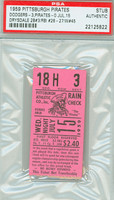 1959 Pittsburgh Pirates Ticket Stub vs Los Angeles Dodgers Don Drysdale Win #45 - July 15, 1959 PSA/DNA Authentic