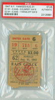 1947 New York Yankees Ticket Stub vs Washington Senators Gumpert Win #16 - August 31, 1947 PSA/DNA Authentic