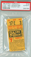 1960 Detroit Tigers Ticket Stub vs Boston Red Sox Jim Bunning Win #66 - August 7, 1960 PSA/DNA Authentic