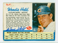 Woodie Held AUTOGRAPH d.09 1962 Post #44 Indians CARD IS G/VG; CRN WEAR, AUTO CLEAN