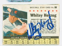Whitey Herzog AUTOGRAPH 1961 Post #88 Athletics BOX CARD IS F/G, CREASE