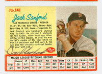 Jack Sanford AUTOGRAPH d.00 1962 Post #141 Giants CARD IS VG/EX; AUTO CLEAN