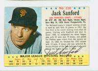 Jack Sanford AUTOGRAPH d.00 1963 Post #110 Giants CARD IS VG, MISCUT; AUTO CLEAN